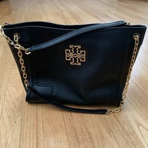 TORY BURCH Small Britten Leather Slouchy Tote